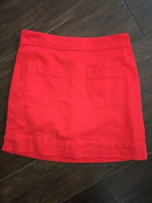 Tea Collection Red Cotton Skirt Pockets Sz 8