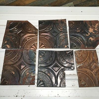 "6pc Lot of 12"" and under Antique Ceiling Tin Vintage Reclaimed Salvage Art Craft"