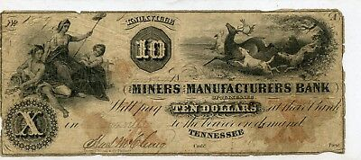 Knoxville, TN- Miners & Manufacturers Bank $10 1829 Garland 466 G8a Obsolete