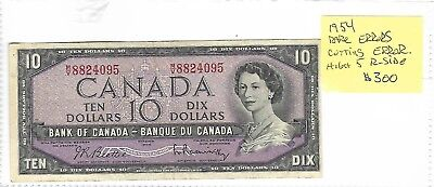 ERROR 1954 BANK OF CANADA TEN 10 DOLLAR FACE BANK NOTE: Cutting  & High 5