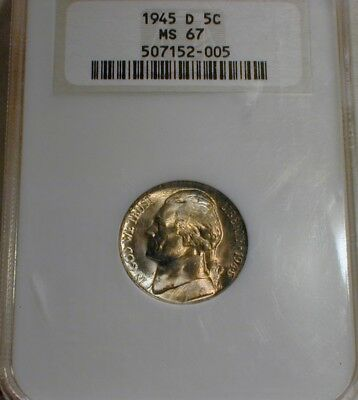 1945-D Silver Jefferson Nickel NGC MS 67              With Steps