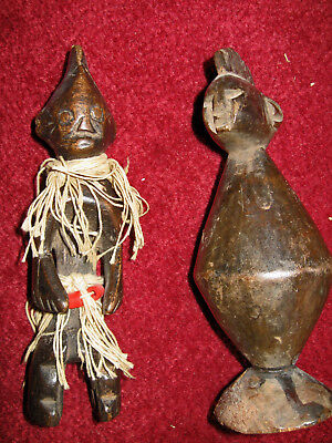 "2 Fetish Carved Wood Figures Unknown 6.5"" Tribe Magic  No Reserve"