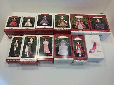 Hallmark Ornaments - Lot of 12 Barbie Ornaments - 1st in Holiday & Barbie Series