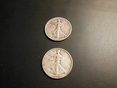 Liberty walking half dollars 1933 S fine and 1934 D extra fine 2 coin listing