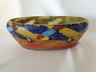 French Enameled Art Glass Signed Bowl Birds Insects Antique NR