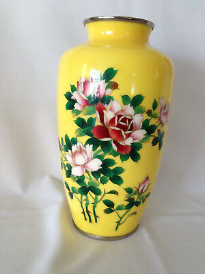 LARGE Antique Japanese Yellow Cloisonne Ando Roses Vase NR