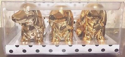 Boxed Set of 3 Gold Dachshund Dog Christmas Holiday Ornaments or Figurines