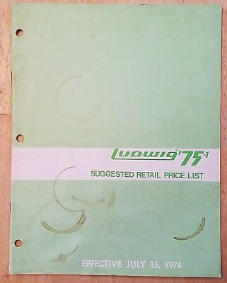Ludwig Suggested Retail Price List for '75-1 Drum Catalog (dated 7/15/74) RARE