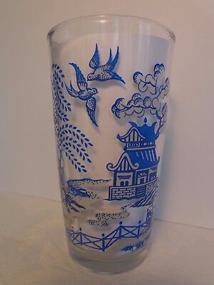 "Vintage Hazel Atlas Blue Willow 5"" Glass Tumbler 12 oz c 1940's-1950's EX COND!"