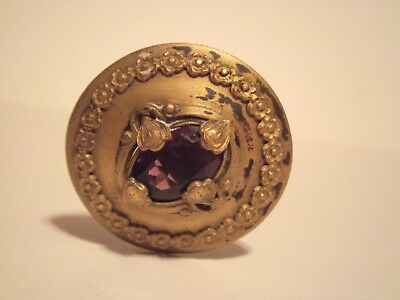 Antique Victorian  Hat Pin 10 1/2 inch pin brass top with center purple stone