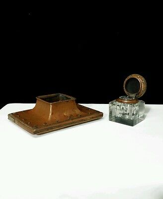 Original Antique Arts and Crafts Copper and Silver Inkwell Shreve Crump & Low Co