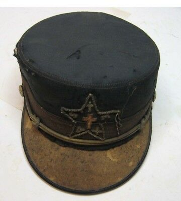 Old Vintage Texas Uniform Cap Hat With Star And Buttons Cross