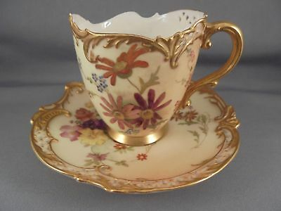 Old Antique Royal Worcester Porcelain Pierced Reticulated Cup & Saucer 19th C