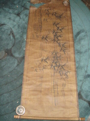 Old Chinese Japanese Painted Scroll Bamboo Leaves