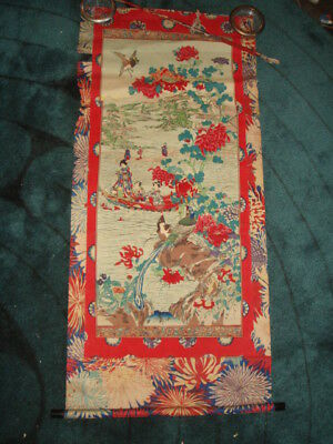 Old Japanese Scroll Painting People in Boat w/ Lake Birds & Flowers