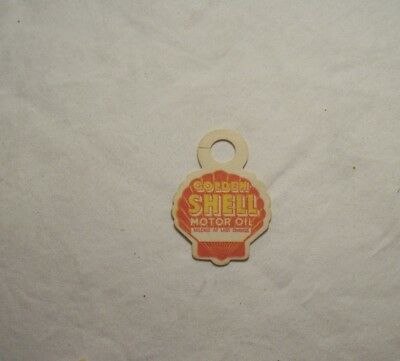 Early Golden Shell Die Cut Oil Change Tag