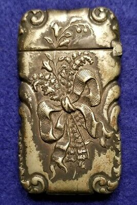 """Vintage Decorative Match Safe - Late 1800s """"engraved with Xmas '93"""""""