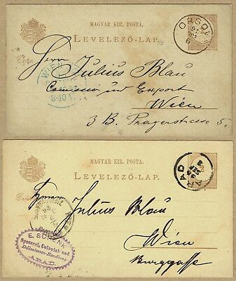 Hungary / Romania 1886-92 use of Stationery Postal cards (2) to Austria