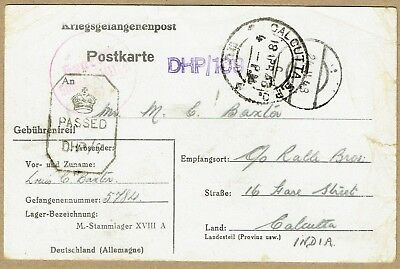 Germany POW postcard used 1943 to India German/Indian Censor handstamps