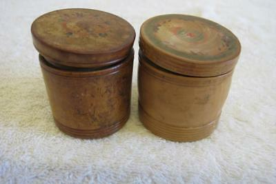 Pair of Antique Wooden Treen Containers Carved Lidded Jars