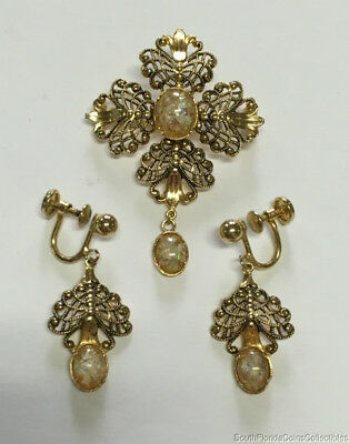 Costume Jewelry D'Or Opal Pendant & Earring Set Gold Fill
