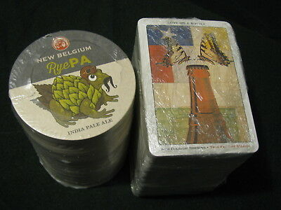 New! 2 Sleeves New Belgium Beer Coasters! Rye IPA & Love on a Bottle Fat Tire!!