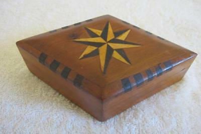 Vintage Art Deco Style Carved Wooden Box with Star Inlay