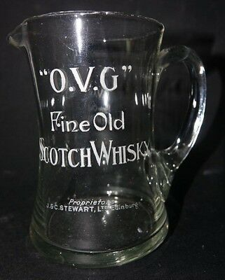 Very Old Advertising Whisky Jug - O.v.g Fine Old Scotch Whisky Stewart Edinburgh