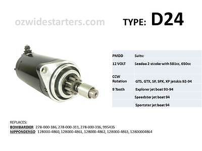 Seadoo starter motor for XP, GTS, GTX, SP, SPX with 581, 650 engines from 92-94