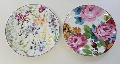 Set of 2 Ceramic Marks and Spencer Floral Side Plates Decorative Mother's Day