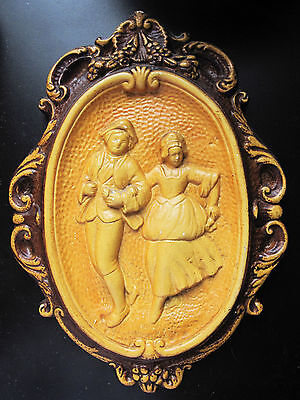 Antique Cast Ceramic 3 Dimentional OVAL ornate figural art wall plaque LARGE