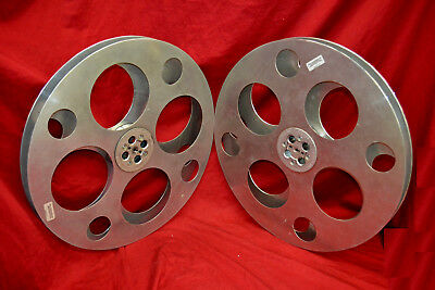 TWO 6000 FT. Goldberg Brothers 35mm FLOATING HUB Film REELS * VG COND