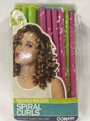 Conair Spiral Curls 18 Ct Flexible Rollers Hair Curlers For Wet Damp Or Dry Hair