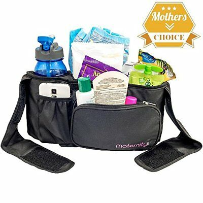 Universal Stroller Organizer By Maternity, All Black or Black w/ Pink Border NEW
