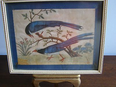 Late 18th C Anglo Chinese Watercolor on Silk of Birds