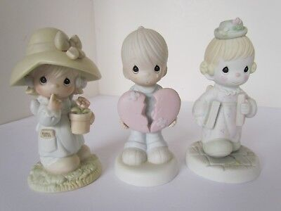 Lot of 3 Enesco Precious Moments Porcelin Figurines from 1987