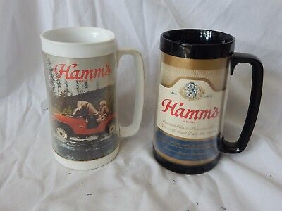 2 Vintage Hamm's Thermo Serv Plastic Beer Mugs/Stein - Jeep /Bear & logo, black
