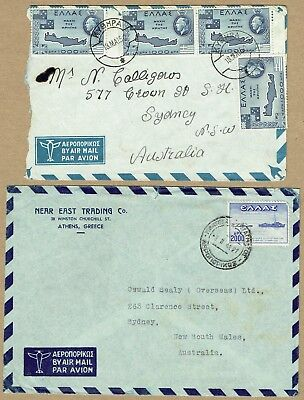 Greece 1948-50 airmail covers (2) to Australia
