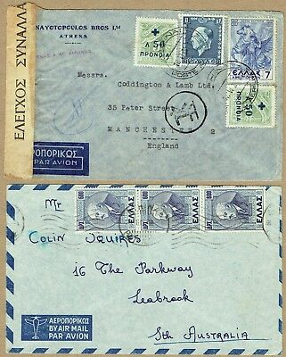 Greece 1939 and 1947 airmail covers to GB (Currency control tape) and Australia