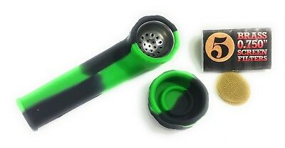 """Green and Black """"Viper""""-  Silicone Travel Smoking Tobacco Pipe with lid"""