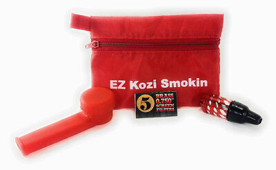 Red Silicone Tobacco Pipe Bundle With Bonus Pouch, Five Brass Screens and Mini
