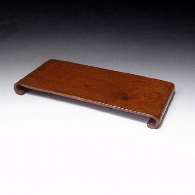 """MD2: Vintage Japanese natural wooden Stand for Art Object, KADAI, 6.9"""" x 3.1"""""""