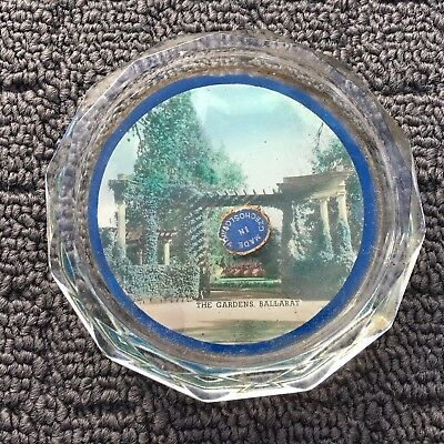 "THE GARDENS BALLARAT ""Blue"" Decorative Retro Souvenir Cut Glass Drink Coaster"