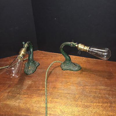 Wired Antique Table Lights Matched Pair 32E