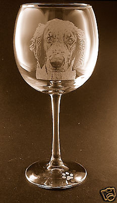 New! Etched Welsh Springer Spaniel on Elegant Wine Glasses - Set of 2