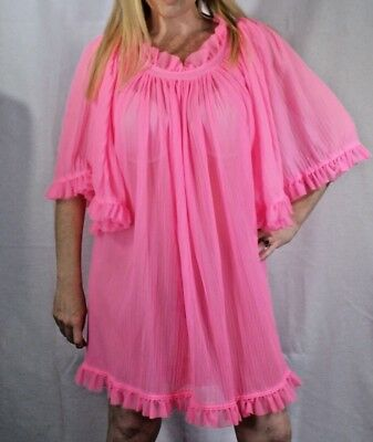 Vintage Bright Pink Fancy Ruffle Semi Sheer Chiffon Nightgown Large