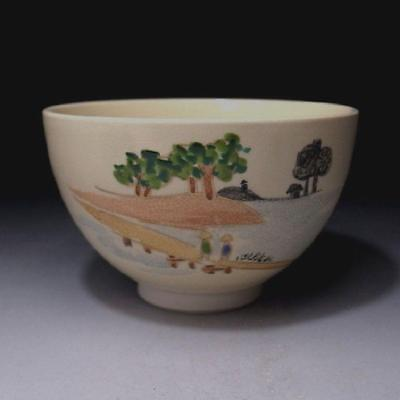 FQ4: Japanese Hand-painted Tea Bowl of Kyo ware, Landscape in old time