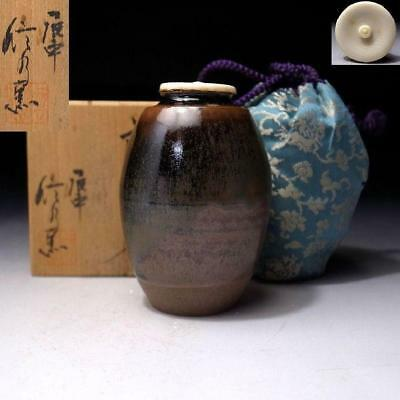 LB4: Japanese Tea Caddy with high-class lid by 1st class potter, Shinsui Ichino