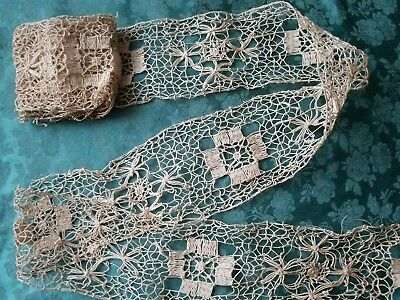 "3""  Antique French HAND MADE LACE Bobbin NET trim  Knotted 5+ yards 1800s"
