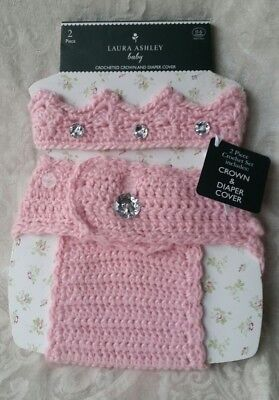 NWT Laura Ashley 2 Piece Pink Crochet Crown (Headband) and Diaper Cover 0-6 Mo